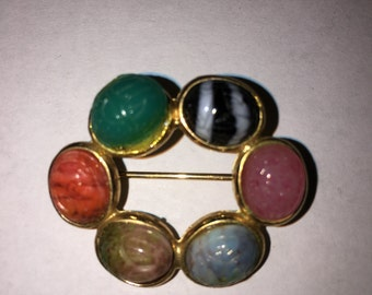 Vintage Faux Multi-Colored Scarab Brooch Pin Round Pin - #114E