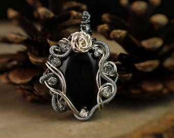 Wire Wrapped Onyx Necklace, Black Stone Pendant, Wire Wrapped Necklace, Sworavski Crystal Necklace