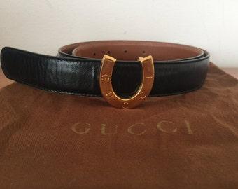 Vintage GUCCI Horseshoe LOGOS Navy Leather Belt 75.30 S M