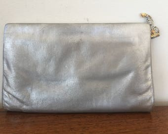 Vintage JUDITH LEIBER Crystal Koi Fish Silver Evening Bag Purse