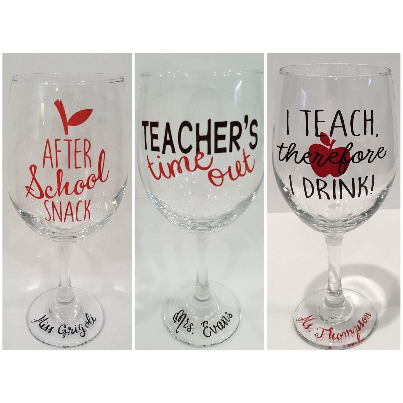 Funny Teacher Wine Glasses After School Snack Teacher S