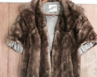 Vintage 1950's Natural Mink Fur Cape W.E Grace & Co Rutland Vermont Furrier