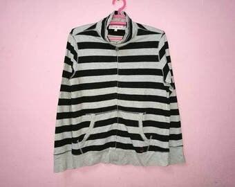 Rare!! Kangol Small Logo Spellout Embroidery Strip Striped Zipper Sweater Jacket