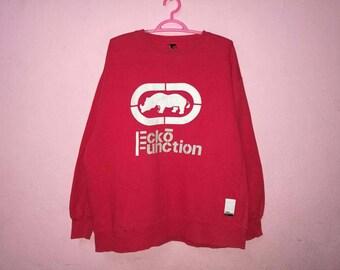 Rare!! Ecko Big Logo Spellout Embroidery Pullover Jumper Sweatshirt