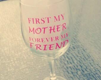 Happy mother's days wine glass