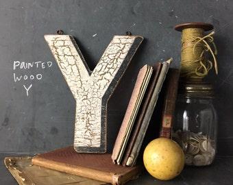 Vintage Wooden Letter Y