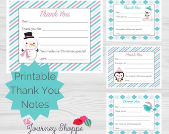Winter Friends Animal Printable Kids Thank You Note Cards ~ 4 Designs ~ Instant Download (4.25x5.5 inches)