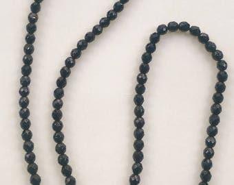 Antique Black Jet Mourning Bead Necklace