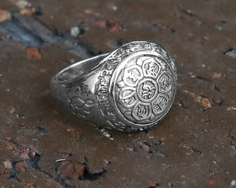 Guan Yin Buddhist Mantra Sterling Silver Ring, Tibetan Buddhism Ring, Buddhist Prayers Ring, Meditation Jewelry, Mens Ring, Man Gift, Yoga