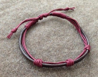 men's Brown Burgundy Handmade Leather adjustable bracelet