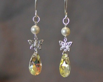 Swarovski crystal & pearl silver earrings