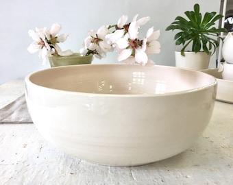 White bowl, Ceramic bowl, Baking mold, Salad bowl, Fruit bowl, Serving bowl, Dining bowl, Decorating bowl, Large bowl, pottery bowl