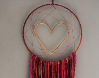 Pink Boho Heart Dreamcatcher 14inch