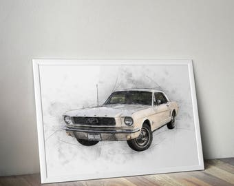Ford Mustang 1966 Print Ford Mustang 1966 Poster Drawing Home Decor Wall Art