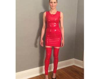 Red Stretch Vinyl Mini Dress