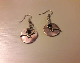 Bird earrings with copper and antiqued brass