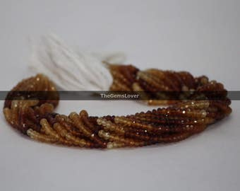 100% Natural Hessonite Garnet Faceted Rondelle Beads 4.5-5mm | Garnet Big Faceted Beads | Garnet Beads Strand | Shaded Garnet Beads