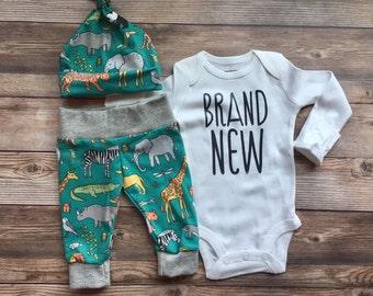 Safari Zoo Animal Newborn Set, Brand New Baby, READY TO SHIP, coming home outfit, safari theme, zoo theme, baby shower gift