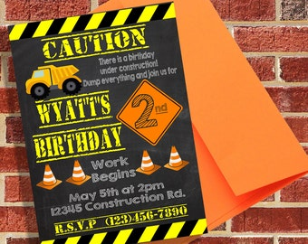 Construction Site Inspired Printable Invitation