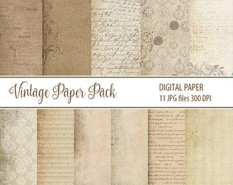 Antique Paper, old Vintage Paper Pack, Digital paper, Digital Scrapbooking Paper, old Paper