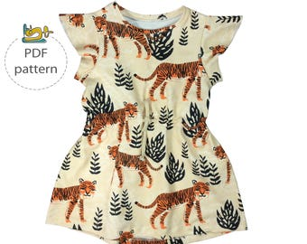 Baby dress pattern, pdf baby pattern, drawstring dress pattern, flutter sleeve dress, digital pattern, easy sewing pattern
