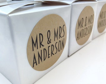 Personalized favour labels, personalised favour stickers, Mr and Mrs stickers, Mr and Mrs wedding labels 057
