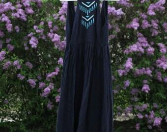 Navy Floor Length Summer Dress Maxi / Boutique / Bobi Black Los Angeles