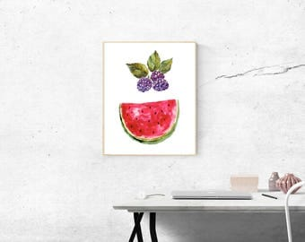 Watermelon and Berries Wall decor Instant Digital Download Ideal for Home Office Kitchen