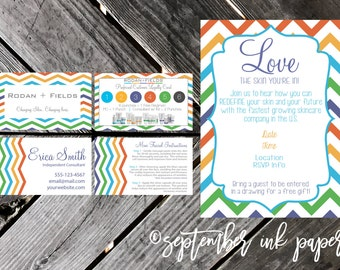 Rodan + Fields Business Card and party invitation bundle