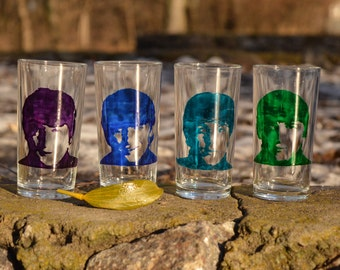 "Hand painted glasses set ""The Beatles"""