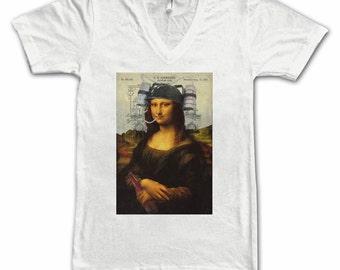 Ladies Mona Lisa with Beer Tee, Women's Tee, daVinci, Beer Tees, Beer T-Shirt, Beer Lovers Tee, Art Lovers, Beer Thinkers, Beer Art, Alt Art