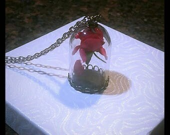 Beauty and the Beast pink rose cage Necklace