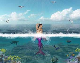 Mermaid backdrop, ocean scene, girls background, fantasy, underwater.