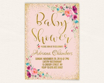 Confetti girls floral baby shower invite, blush pink and gold baby shower invitation, printable pink baby shower invitation, 5x7 jpg 3a