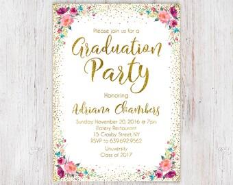 gold graduation | etsy, Einladungen
