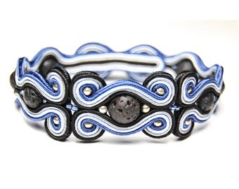 Soutache bracelet for man handmade unique jewelry sale gift for men to buy volcanic lava dark blue black gray pulsera hombres bracciale uomo