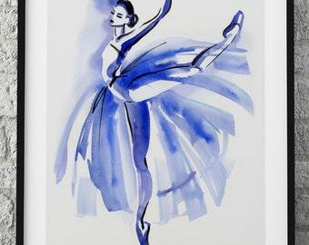 Blue Dancer, Ballet Dancer Print, Original Watercolor print, Dancer illustration print