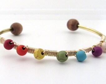 Chakra Energy Wire Wrapped Bead Bracelet