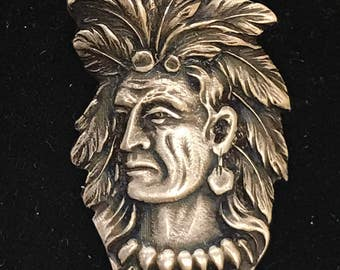 Vintage Sand Point Idaho Native American Chief Sterling Silver Souvenir Spoon