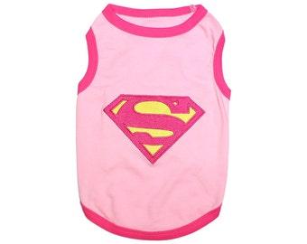 Supergirl Dog T-Shirt, Dog Clothes, Pet Shirts