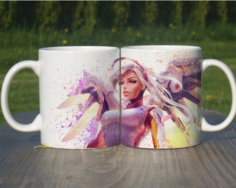 Mercy Mug, Color Changing Mug, Watercolor Coffee Mug,Overwatch Coffee Cup, Overwatch Mercy, M105
