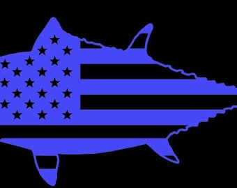American flag bluefin tuna decal vinyl sticker offshore fishing