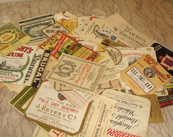 lot of vintage liquor labels