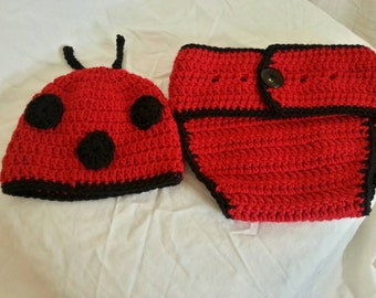 Lady Bug Hat and Diaper Cover Set