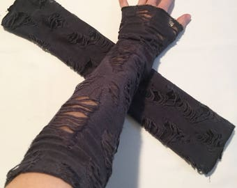 Grey Mummy Arm Warmers Fingerless Gloves Sleeves Hand Cover Steampunk USA Seller