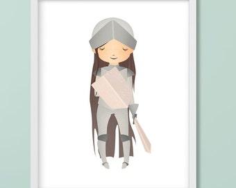 Medieval Girl Knight Nursery Printable, Girl Power, Girl with Sword, Joan of Arc, Girl's Bedroom, Baby Girl Digital Download Print