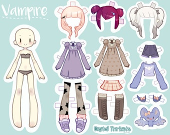 Vampire Paper Doll INSTANT DOWNLOAD