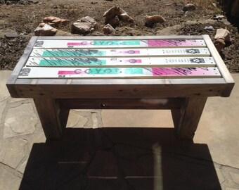 Up-cycled Ski Furniture, Ski Bench, Ski Table, Re-purposed Ski Furniture, Ski Furniture, Rustic Ski bench