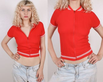 70s Zip Up Top // Vintage Cropped Shirt Short Sleeve Red Womens - Small
