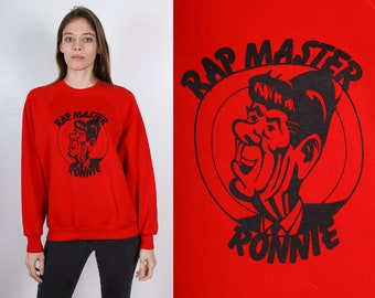 "80s Sweatshirt Ronald Reagan // Vintage ""Rap Master Ronnie"" Red Pullover Slouchy Raglan Sleeve Mens Womens - Large"